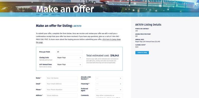 DVC Resale Market Make an Offer Page