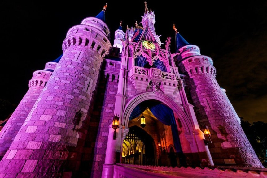Disney's Cinderella castle lights at night