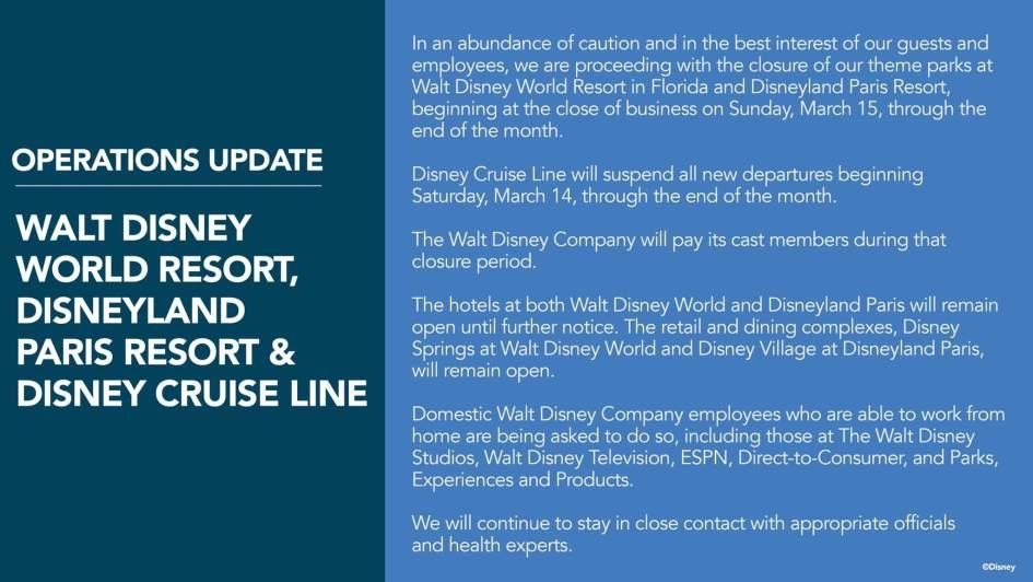 Disney Operations Update for Coronavirus