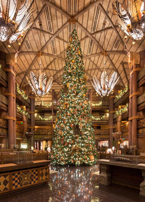 Christmas Tree inside Disney's Animal Kingdom Lodge Lobby