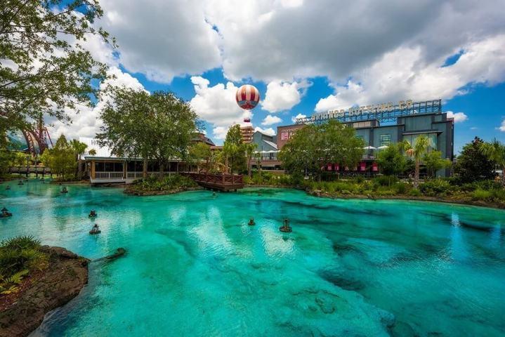 Disney Springs lagoon with an air balloon