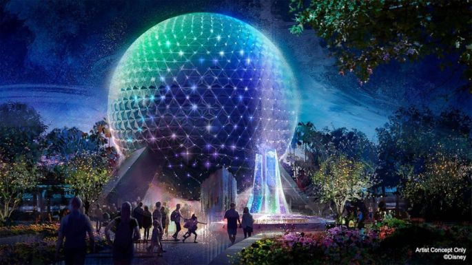 Concept art for lights added to EPCOT in 2021 for WDW 50th Anniversary