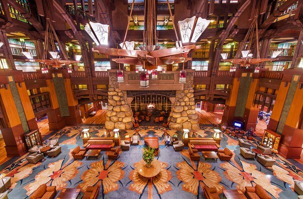 Inside the Disney's Grand Californian lobby