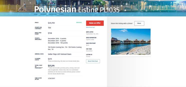 DVC Resale Market Listing Detail Page
