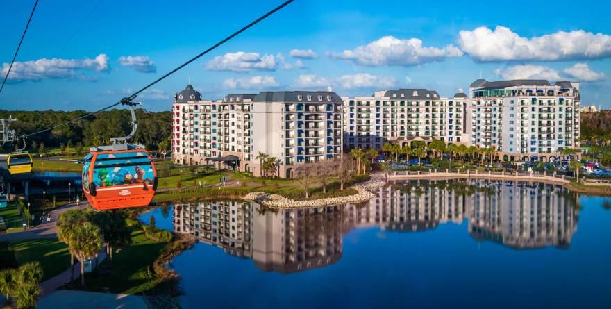 Disney's Skyliner gondola pictured in front of Riviera Resort