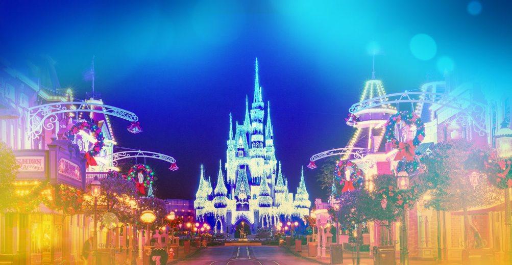 Christmas decorations adorn Cinderella's Castle at Walt Disney World's Resort
