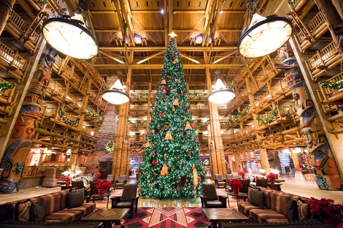 Disney's Wilderness Lodge Christmas Tree in the Lobby