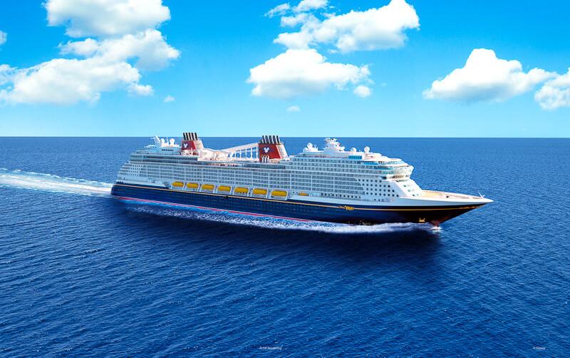 Disney Cruise Line fleet sailing across deep blue waters.