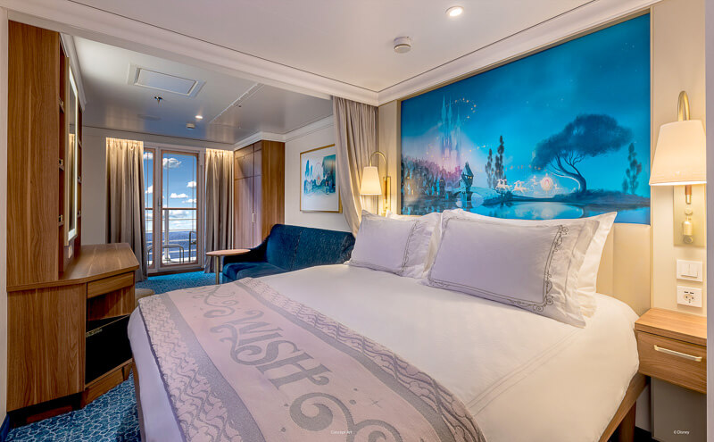 Concept of a master bedroom at the Disney Wish cruise.
