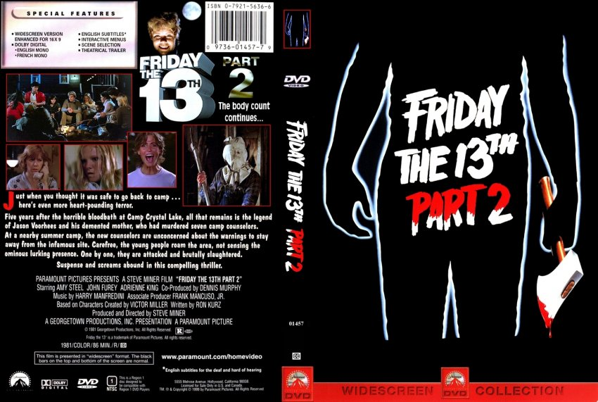 Friday The 13th Part 2 Movie DVD Custom Covers