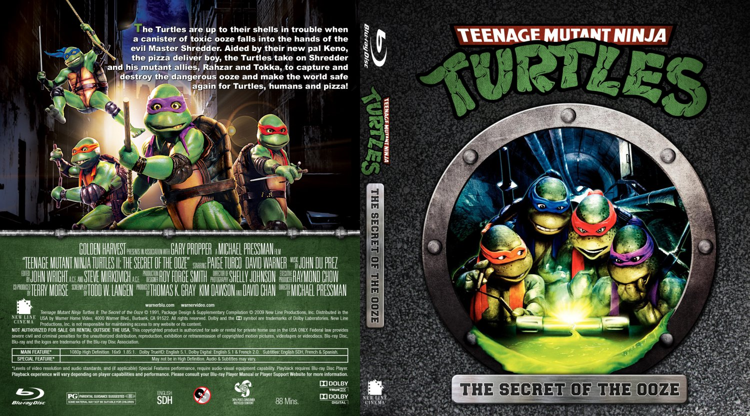 Teenage Mutant Ninja Turtles 2 1991 dvd box art