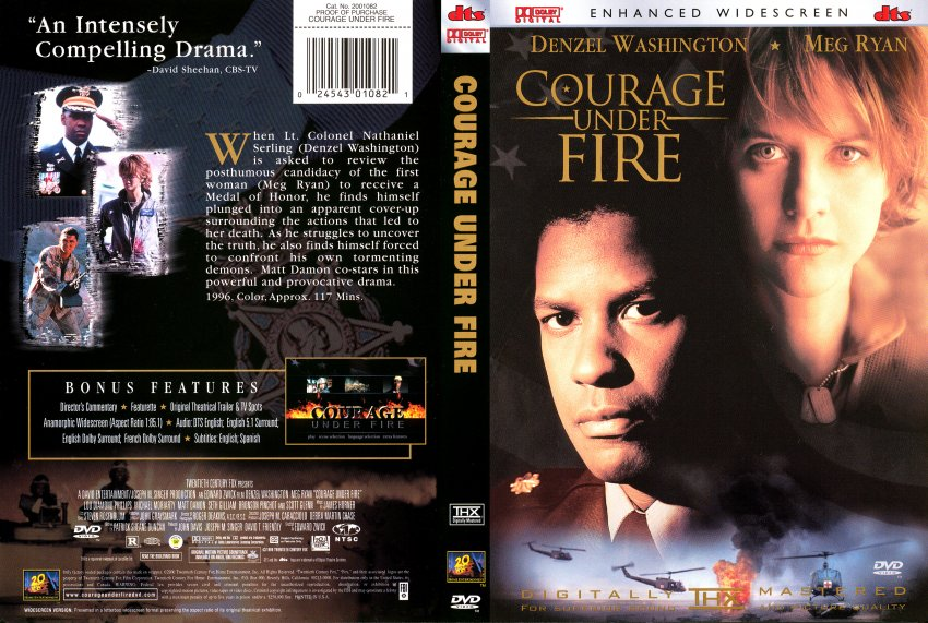 Courage Under Fire REAL R1 Movie DVD Scanned Covers