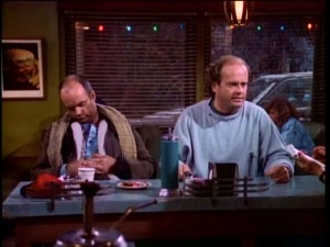 frasier excited to see his son fredrick is abruptly disappointed when he learns freddie and lilith are changing their plans
