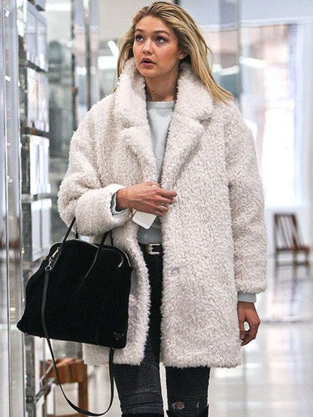 teddy bear coat Gigi Hadid