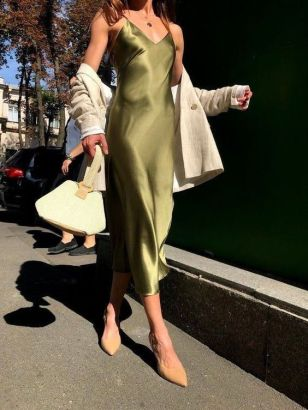 slip dress abito sotto veste verde