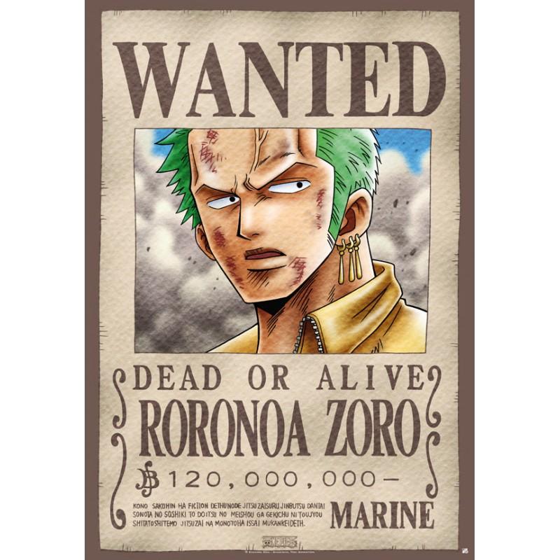 poster one piece plastifi grand format wanted zoro