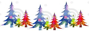 Drawing of coloured Christmas trees