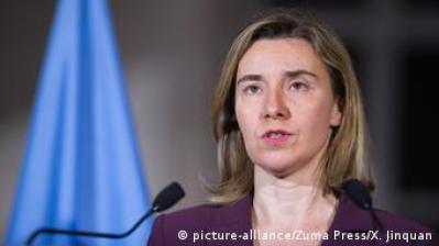 Genf EU-Außenbeauftragte Federica Mogherini zu Syrien-Krieg