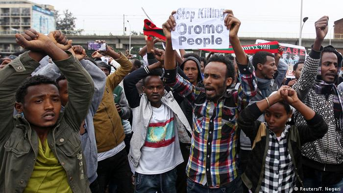 Oromo protesters in Addis Ababa