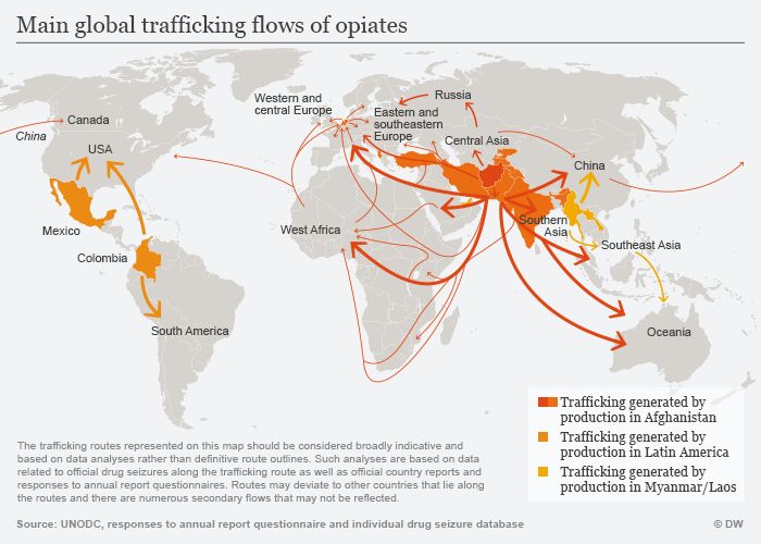Infographic smuggling routes for opiates