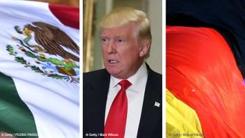 Las banderas de México y Alemania enmarcan al nuevo presidente estadounidense, Donald Tump.