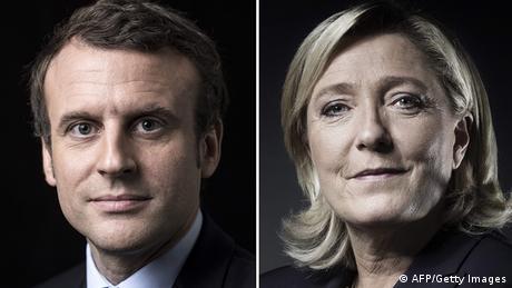 Frankreich Bildkombo Emmanuel Macron und Marine Le Pen (Getty Images/AFP/J. Saget/E. Feferberg)