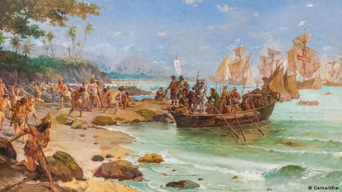 Quadro retrata a chegada de Pedro Álvares Cabral no Brasil