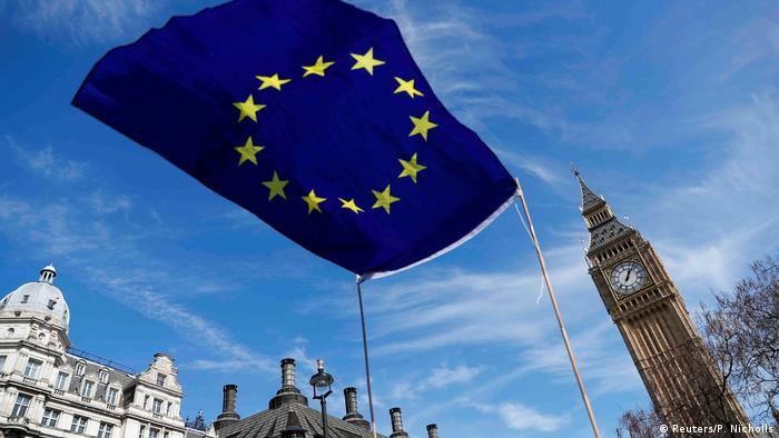 EU Flag in Parlament Square in London