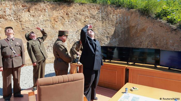Kim Jong-un watches a rocket test (Reuters/KCNA)