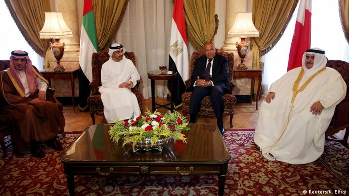 Saudi Foreign Minister Adel al-Jubeir (L) meets with his United Arab Emirates, Egyptian and Bahraini counterparts to discuss the diplomatic situation in July 2017