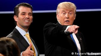 US President Donald Trump and his son Donald Trump Jr.