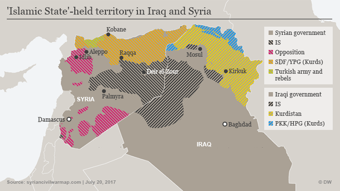 Infographic: IS held territory in Iraq, Syria