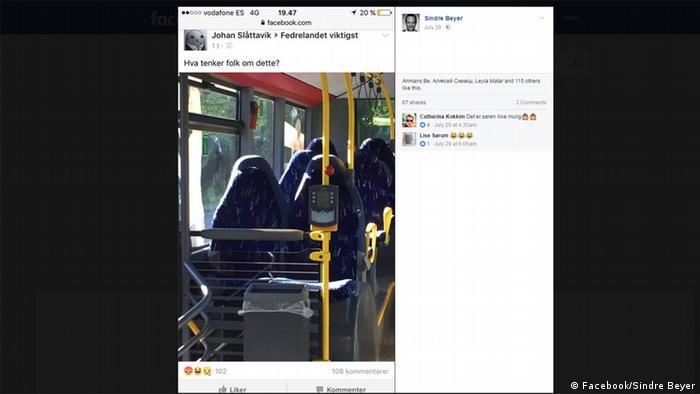 Facebook-Screenshot: Bus sitze versehentlich für Burkas gehalten (Facebook/Sindre Beyer)