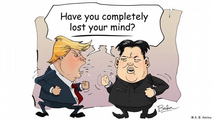 Karikatur Trump und Kim (USA Nordkorea Atomstreit) (A. B. Aminu)