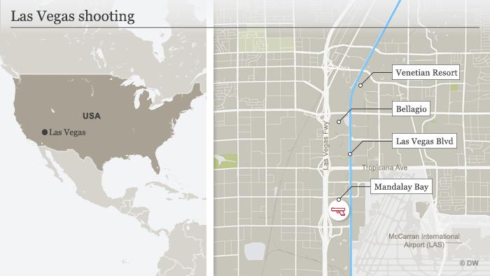 Infografik Karte Las Vegas Schiesserei ENG