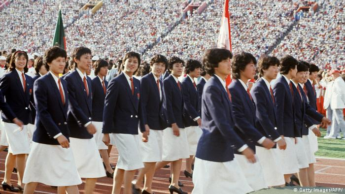 The Chinese team at the 1984 Los Angeles Olympic Games