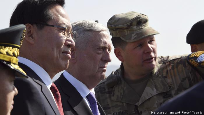 US Defense Secretary Jim Mattis in Demilitarized Zone on the border between the Koreas