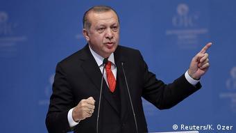 Erdogan at the OIC meeting (Reuters/K. Ozer)