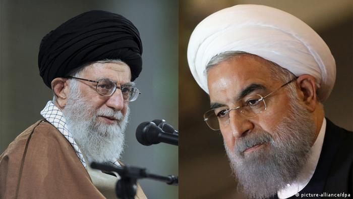 A split-screen photo showing Iranian Supreme Leader Ayatollah Ali Khamenei (left) and President Hassan Rouhani (right)
