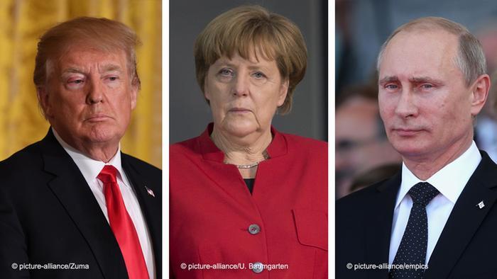Trump, Merkel, Putin