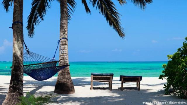 Tropical beach in Zanzibar with palm trees, hammock and canvas chairs (picture alliance / blickwinkel / M)