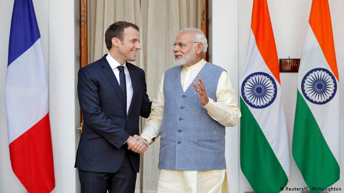 French President Macron meets Indian PM Modi in New Delhi