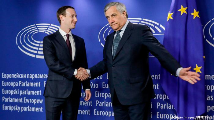 Facebook CEO Mark Zuckerberg meets with European Parliament President Antonio Tajani (Getty Images/AFP/T. Roge)