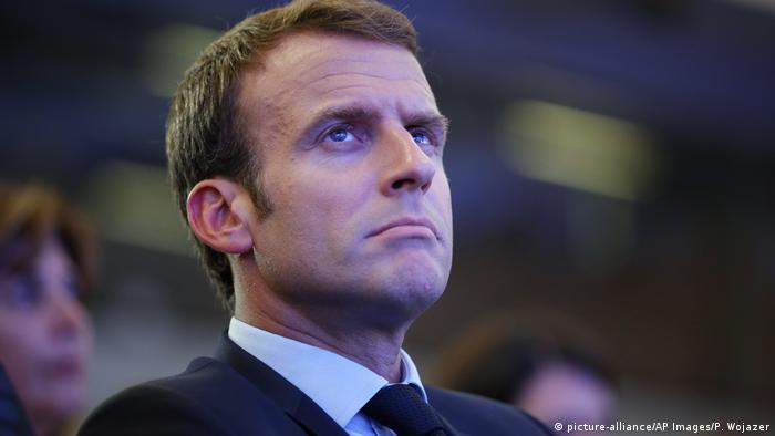 French President Emmanuel Macron attends the OECD ministerial council meeting on Refounding Multilateralism, in Paris, France, Wednesday, May 30, 2018 (picture-alliance/AP Images/P. Wojazer)