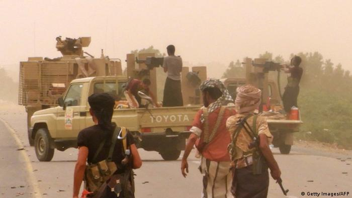 Yemeni pro-government forces gather at the south of Hodeida airport