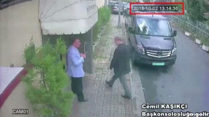A still image taken from CCTV video claims to show Saudi journalist Jamal Khashoggi as he arrives at Saudi Arabia's consulate in Istanbul.