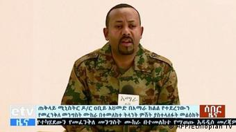 Prime Minister Abiy Ahmed spoke on television after Saturday's attacks