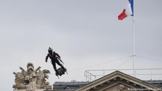 Frank Zapata hovers over Place de la Concorde during a French military parade