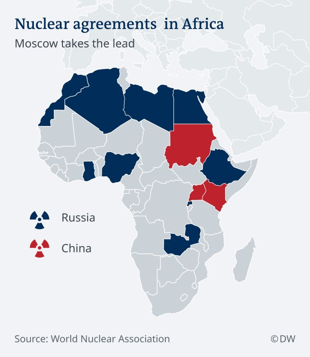 A map of Africa, with countries that have signed nuclear technology framework agreements with Africa highlighted