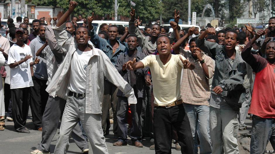 Äthiopische Studenten demonstrieren in Addis Abeba, Juni 2005 (Foto: AP Photo).